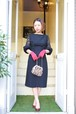 VINTAGE FRONT RIBBON LACE& PUFF  SLEEVE BLACK DRESS