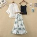 【set】女子力アップ3点セットプリントスカート+キャミソール+無地シャツ