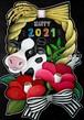 【ビーラボ黒板アート塾 】チョークアートで描く牛と椿のお正月飾り