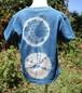 草木染、藍染め、絞り染め月型染め綿Tシャツ 子供用110サイズ セール価格
