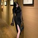 お呼ばれドレス ワンピース 袖シースルー 袖コン サイドスリット入り パーティー 二次会 結婚式 ブラックドレス おしゃれ i1337