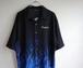 2000's ファイヤーパターン チカーノシャツ 刺繍 ブラック×ブルー 表記(XXL)