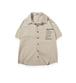 送料無料20代/30代おしゃれにも◎メンズ大きいサイズ前後ロゴ半袖シャツ黒/ベージュ