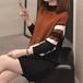 【ワンピース】ハーフネック(全3色)ストライプ配色ファッション膝上丈ニットワンピース24513189