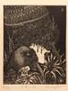 生熊奈央 銅版画「少年と鳥」10×8cm シートのみ/エッチング /ed.6/30