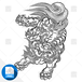 【png画像素材】唐獅子7 Mサイズ  横1135px × 縦1500px