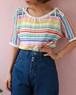 courreges rainbow knit tops