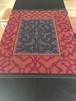 シピボ族の泥染刺繍タペストリー19 紫ピンク アマゾンの刺繍大判