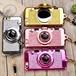 グリッター カメラ型 スマホケース レンズスタンド (4カラー)