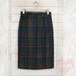 グリーン系チェック柄 ウールタイトスカート