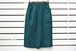 VINTAGE Deep green orange x black check wool straight skirt