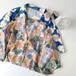 オシャレ 大きめ 新作 折り襟 半袖 花柄 油絵 シャツ・トップス