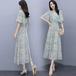 【dress】気質溢れる エレガントVネックチュニックプリント花柄ワンピース2色 M-0302