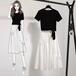 【set】大人らしいファッション2点セットTシャツ+カジュアルスカート M-0519