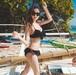 【送料無料】ホルターネック フリル レース ブラック セクシー 大人女子 2点セット セパレート 夏 リゾート 海 ビーチ プール 水着