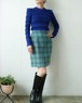 light blue wool checked skirt
