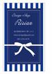 リボンプレゼント縦型名刺・ショップカード ブルー RI-052