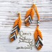 Feathers Asymmetrical Pierce/Earrings -Orange-