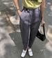 【送料無料】パンツ カジュアルスタイル ハイウエスト 夏 レディース グレー ネイビー S M L XL