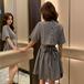 【dress】美人度アップチェック柄バックリボン付き着痩せデートワンピース