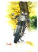 水彩バイクイラスト ポストカード