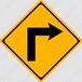 【イラスト】右方屈折ありの 交通標識