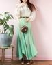 70s green flare skirt
