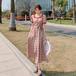 【dress】大活躍おすすめスクエアネックチェック柄デートワンピースゆったり