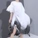 ワンピース サイドストラップ 裾チェック柄 半袖 韓国ファッション レディース  巾着 ゆったりウエスト ルーズ 大人カジュアル 大人可愛い 615908204427