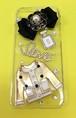スマホケース iPhone7 黒リボン透明
