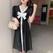 【dress】今季マストバイエレガントリボンボタンデザインデートワトップス M-0414