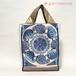 ブルーのサークルが印象的なスザニのバッグ【A4が入ります】/着物に合うバッグ