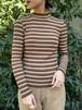 (TOYO) border high neck knit tops