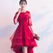 フィッシュテール ドレス 刺繍 シースルー 六分袖 膝丈 二次会 お呼ばれ パーティー 同窓会(F021)