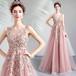 8004カラードレス ロングドレス 結婚式二次会 発表会 披露宴 演奏会 大きいサイズ  小さいサイズ ピンク