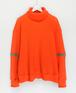 Neon red orange knit cut saw