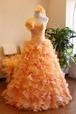 オレンジふわふわカクテルドレス