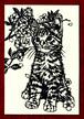 切り絵ポストカードno020 物思いにふけるちび猫(E-4-02520)