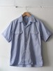 FUJITO H/S Open Collar Shirt Blue,Black