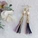 ●nohohon(purple) 絹組ひもタッセルとコットンパールのピアス