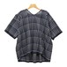 Maison de soil/メゾンドソイル/100'S KHADI CHECK WITH SELVAGE V-NECK SHORT PULLOVER【INMDS20111】