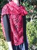 手編み タティングレース スカーフ レッド