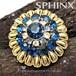 英国SPHINX ヴィンテージ★サファィアブルークリスタル☆ドーム型クラスターブローチ,1950's
