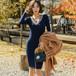 【ワンピース】女性らしいシルエット大人っぽい印象ニットワンピース24926937