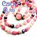 チェコ直輸入★かわいい♪ピンク&パープル ムーングロウガラスビーズ ヴィンテージ 2連ネックレス,1950s