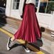 【送料無料】サテン風 光沢 細プリーツ ロング ミモレ丈 スカート 全7色