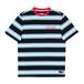 WELCOME Medius Stripe Yarn-Dyed Short Sleeve Knit - Black/Blue