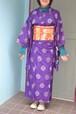 【銘仙】アンティーク着物☆紫に丸の絣と格子【しつけ付き】