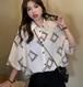 【送料無料】半袖 シャツ 夏 レトロ 香港スタイル プリントシャツ レディース ホワイト ブラック