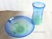 琉球ガラス お皿とグラスのセット 白泡波巻お皿&グラス 青/緑 minru-shop|琉球ガラス みんるー商店|